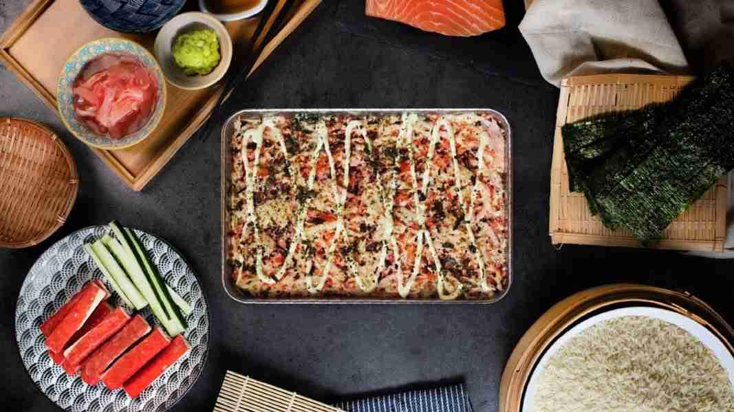Baked Mentaiko Kani Sushi Rice