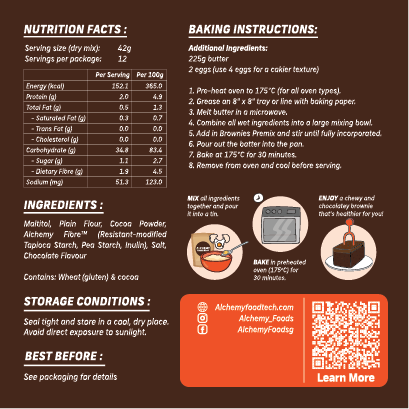 Alchemy Premix Brownies Packaging Back