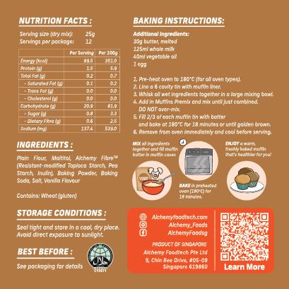 Alchemy Premix Muffins Packaging Back