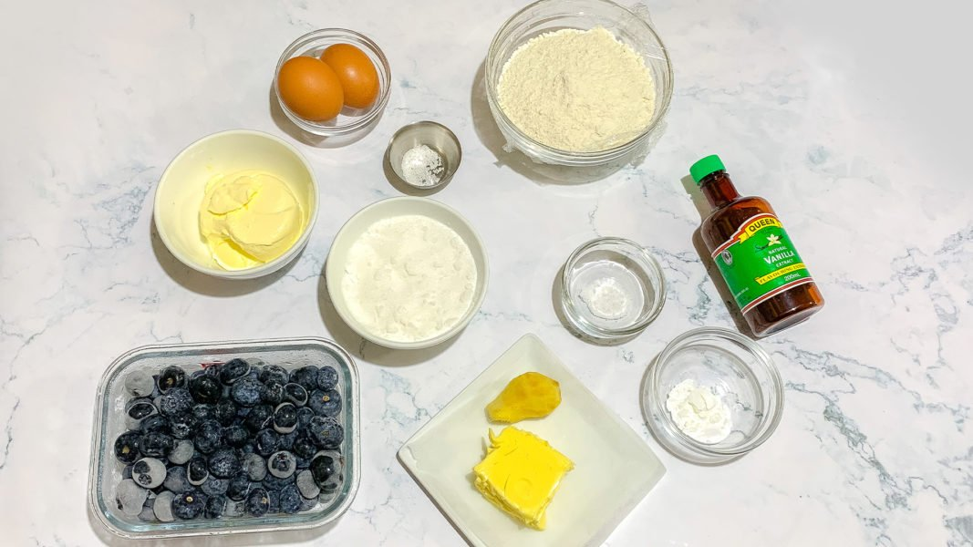 Blueberry Ginger Buckle Ingredients (wet)