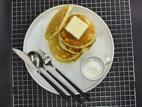 Alchemy Premix Pancakes served with syrup