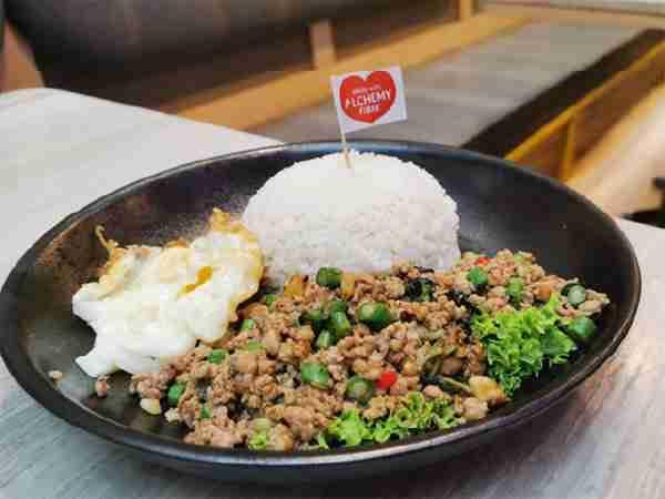 Basil Pork Rice at Bangkok Jam with Alchemy Flag