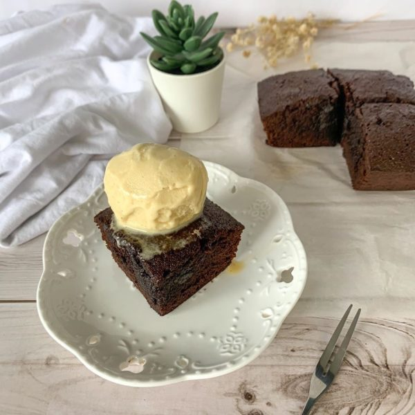 brownies and vanilla ice cream