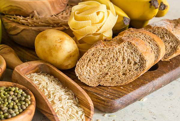 dried carbohydrate foods such as bread rice beans pasta and potatoes